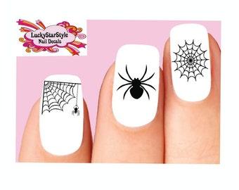 Waterslide Nail Decals Set of 20 - Halloween Black Spider Web Assorted