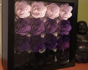 Stunning Framed 3D Flowers in Ombré Purple Colours