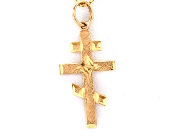 14K Solid Yellow Gold Cross Russian Orthodox Crucifix Jesus Christian Pendant Charm Over 1 Gram Mother's Day