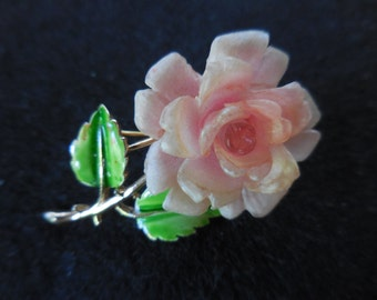 Vintage 1950s to 1960s Crown Trifari Small Rose Pin Pink Gold Tone Green Enamel Leaves Plastic Small
