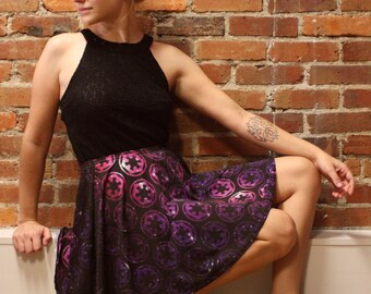 Star Wars Skirt, Galactic Empire Imperial Cogs on Purple and Pink Stars Skater Skirt