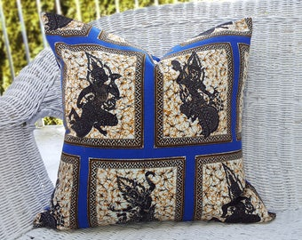 Bohemian Pillows, Boho Cushions, Floor Pillows, Blue Pillow Covers, Ethnic Pillows, Batik, Krishna Dance, Cobalt Blue, Cream, Gold, 20x20