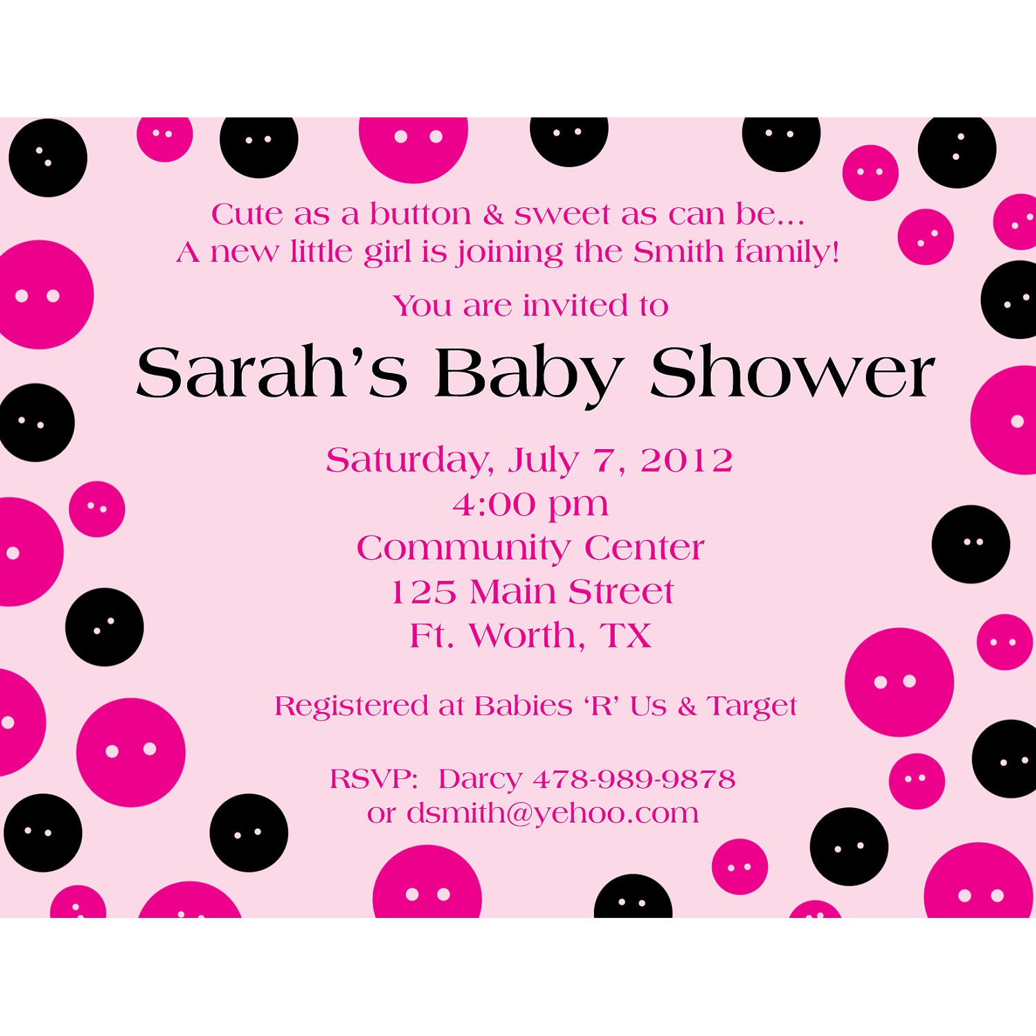 Personalized Baby Shower BUTTONS Invitation
