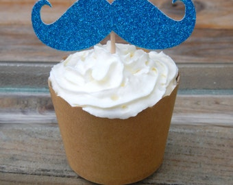 CLEARANCE. Blue Glitter Moustache Cupcake Toppers.