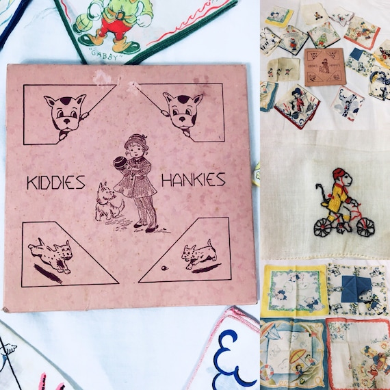 Vintage 1930s Box of 14 Childrens Cotton Hankies