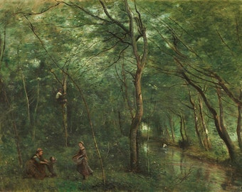 Camille Corot: The Eel Gatherers. Fine Art Print/Poster. (004043)