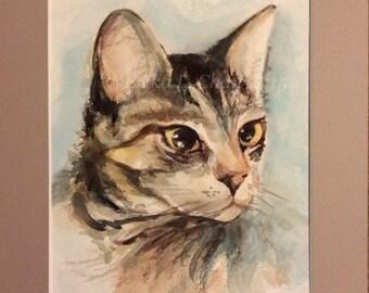 Original Watercolor Tabby Cat Portrait (9x12inch in mat)