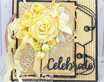 Shabby Chic Celebrate Layered Detailed Greeting Card