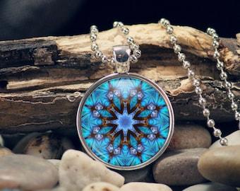 Mandala Pendant, Bright Blue Pendant, Kaliedoscope Pendant, Boho Pendant, Gift for Her, Metaphysical Jewelry, Chakra, Mandala Keyring