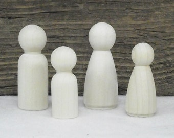 """Neat Little Wooden """"Peg"""" People Set For Painting or Staining For Crafting - Set of 4"""