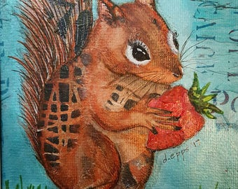Pixie Chic Squirrel mixed media collage