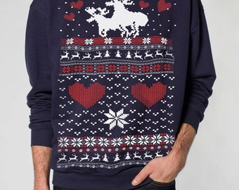 Ugly Christmas sweater -- Moose Love -- pullover sweatshirt -- s m l xl xxl xxxl skip n whistle
