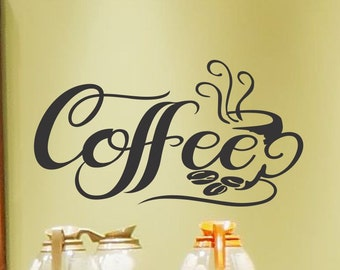 Coffee Wall Decal Kitchen Wall Decor Kitchen Wall Decal Coffee Decal Coffee Cup Wall Decal Coffee Decor Coffee Vinyl Lettering
