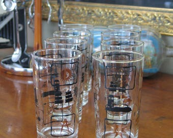 Vintage Nautical Themed Highball Glasses Set of 8