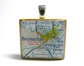Bremerton, Washington  - 1972 vintage Scrabble tile map pendant