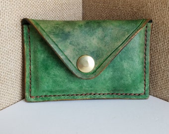 Handmade Green & Brown Leather Card Holder - Business Card Holder - Small Wallet