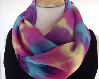 "Hand Dyed Silk Infinity Scarf - 11 x 76"", Turquoise, Purple, Yellow and Fuschia, Long Infinity Loop"