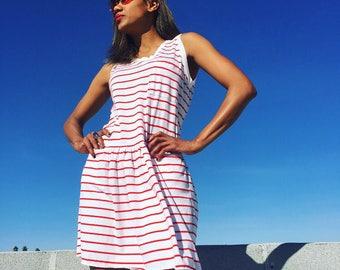 Cutie Red and White Stripe Striped Dress Mini Short Sleeveless Drop Waist Vintage 70s 80s womens