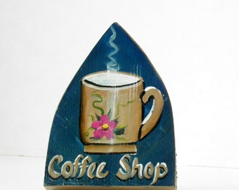 Recipe Holder with Steaming Coffee Cup Hand Painted on it