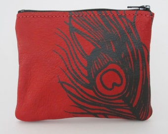 COIN PURSE - bright red leather coin purse - tiny leather pouch - customizable accessory - leather wallet - small leather bag - screenprint