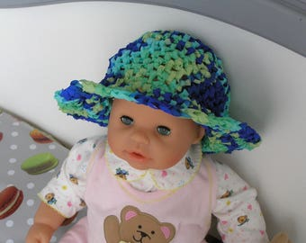Hat, bucket hat for baby summer in shades of blue and green 6 months to 1 year