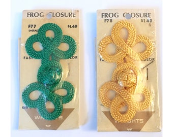 Lot of Two Large Frog Closures, Green & Yellow, NOS