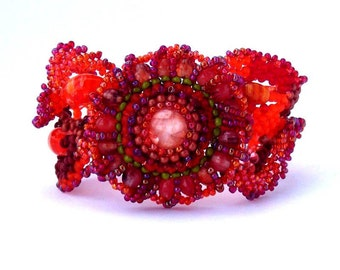 Freeform peyote beaded cuff bracelet ooak - holiday jewelry, Orange  Red, Brown Bourdon Green Holiday gift idea Under 75 for her