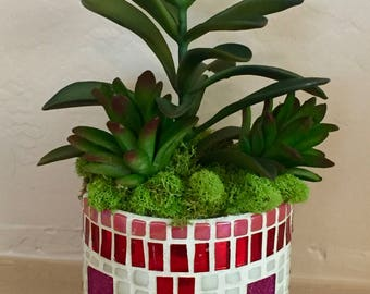 Mosaic Glass Container With Succulents