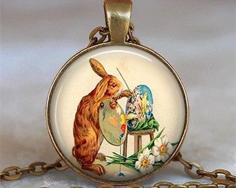 Bunny Artist necklace, Easter necklace bunny rabbit jewelry artist jewelry Easter jewelry  artist gift key chain key ring key fob keychain