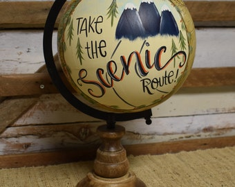 World Globe | Travel Theme | Mountains | Home Decor | Hand Painted | Gift Item