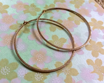 "Gold Hammered Hoops 1.5"" Classic Gold Texture Hoops 14kt Gold Fill Hoop Earrings Artisan Hoops Wire Jewelry"