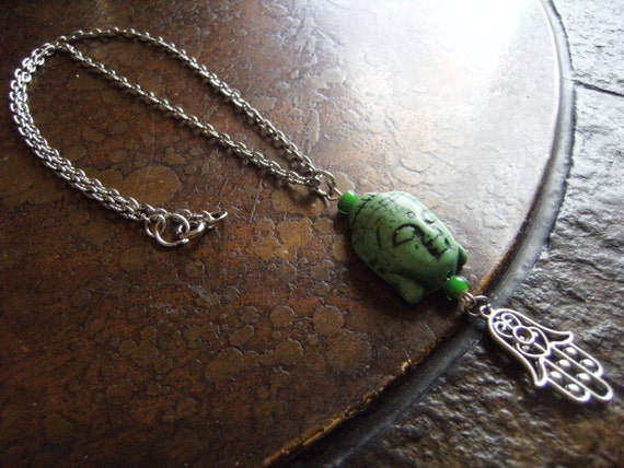 Forest Perfect Harmony Buddha Hamsa Advalokitesvara Turqoise Chain necklace