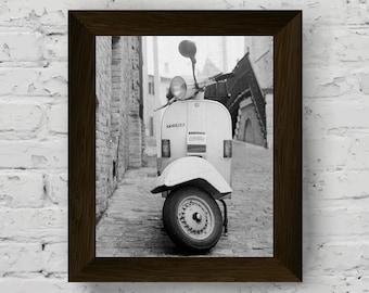 vespa print, black and white photo, vintage scooter wall art, vespa modern poster, wall art prints, vespa artwork, instant digital download