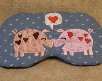 Embroidered Eye Mask for Sleeping, Cute Sleep Mask for Kids or Adults, Sleep Blindfold, Eye Shade, Love Slumber Mask, Pig Design, Handmade