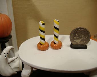 Barbie Or 1:12 Scale Miniature Candle Set With Pumpkin Holders