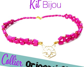 HOT pink origami cat necklace KIT