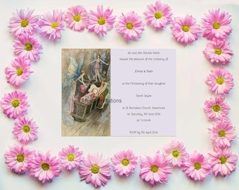 Digital Printable Vintage Fairy Christening Party  Baptism  Baby Naming Invite  Baby Shower Invitation  Instant Download  Microsoft Word