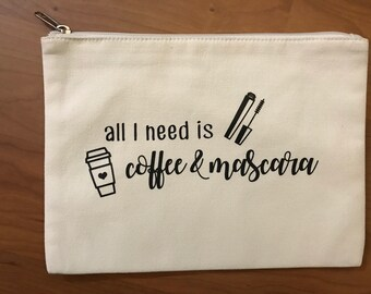 Coffee & Mascara Canvas Pouch/Makeup Bag