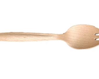 """50ct 6.5"""" Wooden Cutlery Spork"""