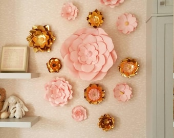 Paper Flowers Set of 14 - Wedding Flowers | Paper Flower Backdrop | Baby Room Decor | Baby Nursery | Wedding Decorations | Flower Wall