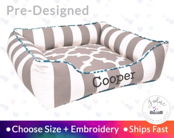 Stripe Dog Bed or Cat Bed - Gray, White, Turquoise, Polka Dot | Washable, Reversible and High Quality - Ships Fast!