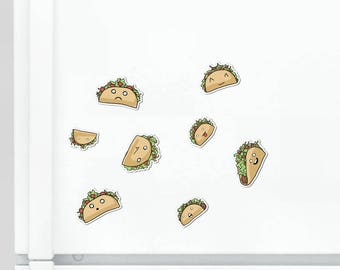 Cute Tacos Magnet Set Cute Magnet Taco Magnet Fridge Magnet Cubicle Decor Kawaii Magnet Food Loco Vinyl Magnet