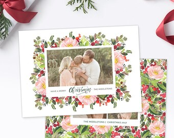 Christmas Photo Card, Christmas Card Template, Christmas Photography Template, Christmas Card Printable, Holiday Photo Cards HC311