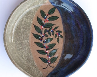 Stoneware Pottery Spoon Rest OOAK Hand Painted Leaves Cobalt Green Gray Red #262