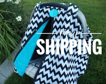 Carseat Canopy Boy Chevron car seat canopy / carseat cover / car seat cover / infant carseat cover BUTTON NOT INCLUDED