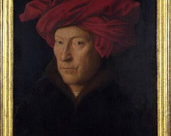 Affiche, beaucoup de tailles disponibles; Portrait d'un homme dans un Turban, peinture à l'huile de Jan Van Eyck (1433)