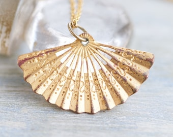 Golden Fan Necklace - Miniature Art Deco pendant on Chain