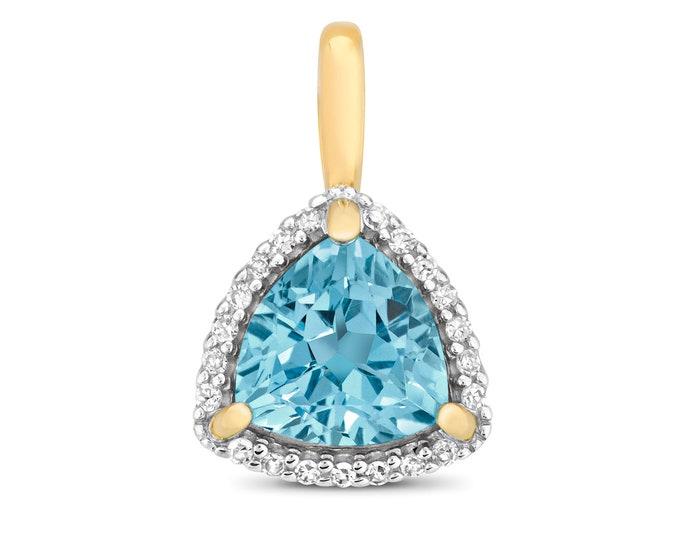 9ct Yellow Gold 0.07ct Diamond 7mm Trillion Cut Swiss Blue Topaz Pendant