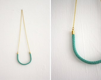 Necklace - mint / wool - long string
