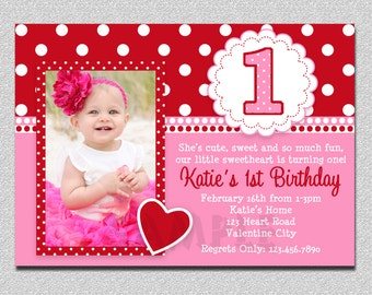 Valentines Birthday Invitation, 1st Birthday Valentines Birthday Party Invitation, Pink and Red Valentine Birthday Party Invitation